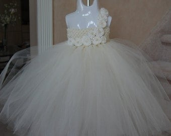 Couture Ivory Vintage Tulle Dress-with Ivory handrolled rosettes and button embellishments.