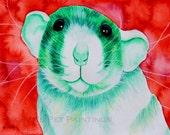 Pet Rat Art Green Rat Painting Limited Edition 8x10 Print 11x14 Watercolor Painting Animal Artwork Animal Nursery Art Custom Pet Portrait
