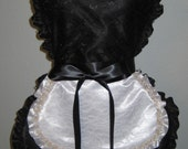 Sexy French Maid Apron in Black Satin and Lace topped with small White Satin and Lace Apron