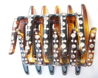 French Tortoise shell hair accessory w/ Rhineshones and silver studs