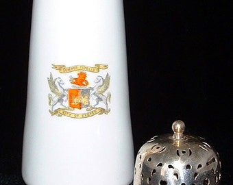 Muffineer Crested China Sugar Shaker Exeter England 1890s Victorian Sugar Caster