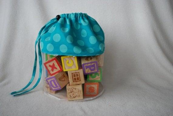 Clear Toy Storage Bag Drawstring closure Spring Teal Polka