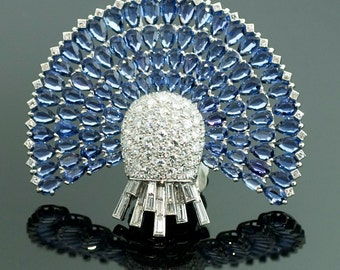Antique Art Deco Platinum Sapphire and Diamond Brooch
