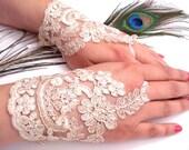 Wedding Gloves, Champagne Lace gloves, Fingerless Gloves, Champagne wedding, cuffs, wedding cuffs, bride, bridal gloves, Bridal cuffs