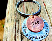 Hand Stamped Father's Day Key Chain Lucky Penny