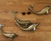 SALE!! 30% OFF!! Vintage Brass Dolphins Set of Four (Three Pieces)
