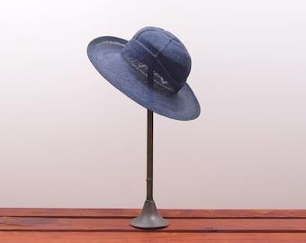 1970s Henri Bendel black woven straw hat - Vintage 70s summer hat