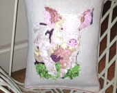 LMD Embroidery Art Throw, Vintage Linen, Pippa the Pig or Rafi the Rabbit, Designer Cushion