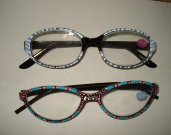 one of a kind reading glasses hand painted designs