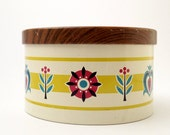 Vintage Tin Box with Lovely Flowers and Pattern