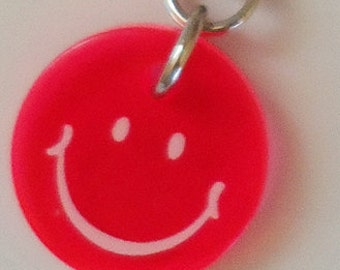 Neon Pink Happy Face Charm