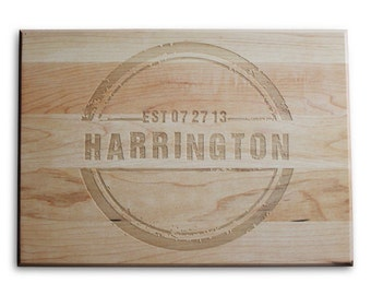 Unique Wedding Gift Personalized Cutting Board 10x14 Maple Custom Laser Engraved