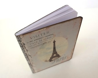 Paris Notebook, French Journal, Shabby, Parisian Diary, Eiffel Tower, Cottage Chic, Pale Blue Stripes, Travel Log