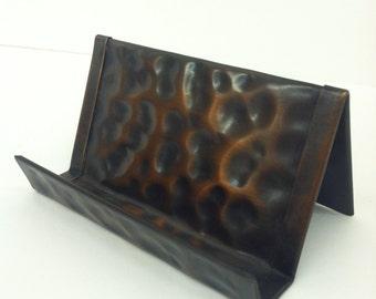 Hammered Copper Business Card Holder Bronze Patina