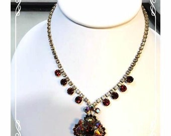 Red Aurora Borealis & Smokey Rhinestone 1950's Vintage Necklace - Flower - 2003a-122512000