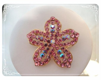 Pink Flower Brooch - Five Petal Star Rhinestone Flower Pin - 1528a-030813010