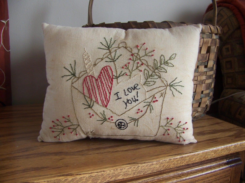 Primitive Stitchery Heart And Envelope By Mondayschildprims