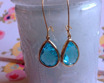 Faceted Glass Long Wire Drop Earrings Great for Bridesmaids