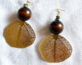 OOAK Dramatic Gold Wing Drop Earrings with Dark wood and Turquoise Magnesite Detail