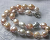 Pearl necklace statement multicolor salmon lavender white rose fine jewelry huge baroque pearls