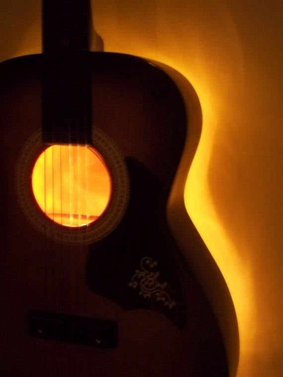Items Similar To Upcycled Vintage Acoustic Guitar Electric