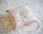Ring Bearer Pillow, Blush Pink Wedding Pillow with Vintage Lace, Silk Beaded Lace Vintage Style - 101P