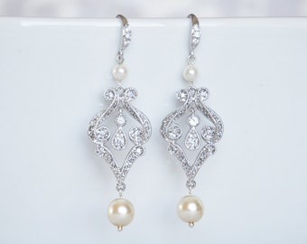 Crystal and Pearl Bridal Earrings, Bridal Earrings Pave Rhinestone and Pearl Scroll Earrings, Bridal Jewelry - 100E