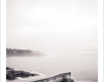 Harbor Entrance, Depoe Bay, Oregon coast, black and white landscape photography, fine art photography, handmade, 8x8 inch print