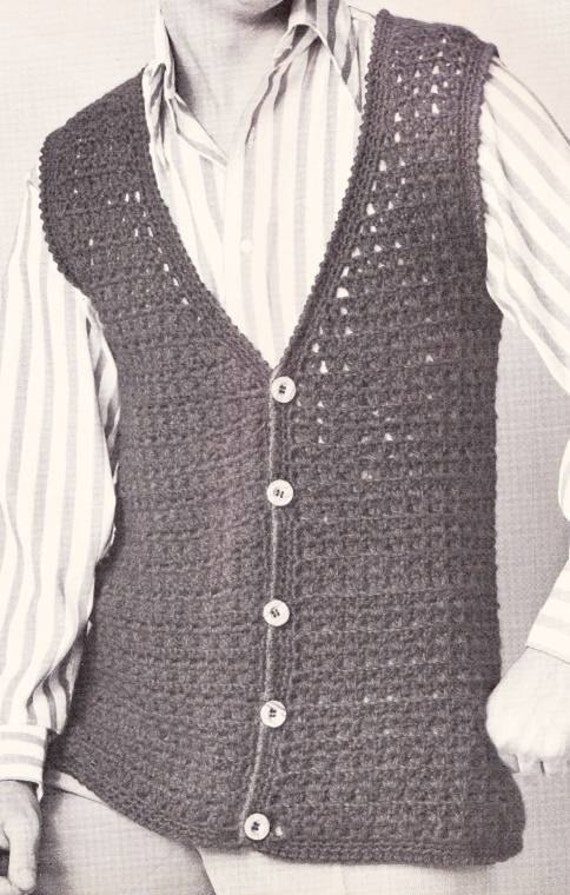 Free Crochet Pattern Mens Vest : Items similar to Vintage Crochet Mens Button Down Vest ...
