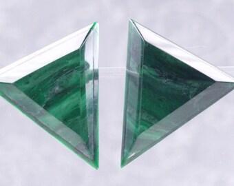 Earrings Acrylic Hand Made Jade on Clear ( Acrylic )