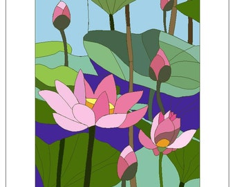 Stained Glass Lotus - Mother's Day, Birthday, Anniversary, Any Day, Thank you