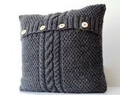 2 Hand Knitted gray  aran style pillow covers - cable hand knit decorative pillows case - handmade home decor 16x16 or 18x18 inch size  0186