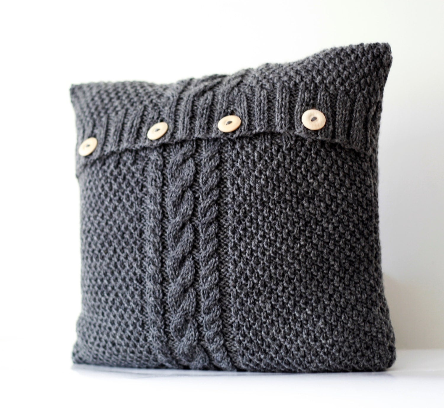 Knitting Pillows : Hand knitted gray pillow cover cable knit decorative