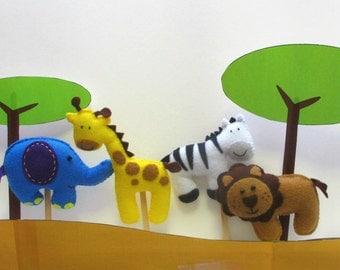 Felt Animal Puppet Pattern or Cake Toppers Pattern. Jungle Safari Animals. Pattern PDF. Includes elephant, lion, giraffe, zebra.