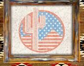 Western Cowboy Mountains American Flag USA-United States-America-Americana-Art Print-Vintage-Rustic-Wall Art-Decor-poster