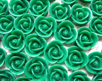 Resin Flower Cabochon / 6 pcs Emerld Green Resin Rose Cabochon / 17mm / Perfect for DIY Accessories