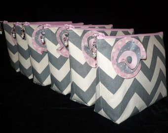Bridesmaids CUSTOM Set of 6 Chevron Make Up/Cosmetic Jeweled bags purses, You Pick the Colors,handmade