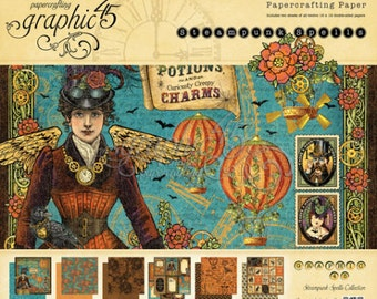 "Graphic 45  8 x 8 ""Steampunk Spells ""  Paper Pad"