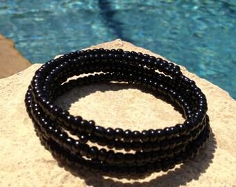 Wrap Black Beaded Bracelet