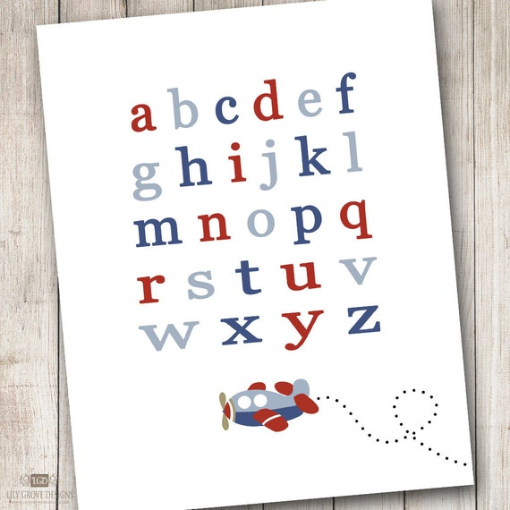 Lowercase Letters Wall Decor : Items similar to airplane lowercase letters wall art
