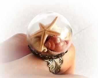 Seashell ring, starfish ring nature jewelry glass globe ring beach lover sea shell jewelry boho ring mermaid costume girlfriend gift for her