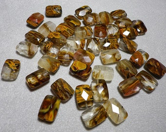 Galaxy Quartz Faceted Rectangle Beads 14mm x 10mm