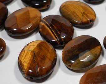 Brown Tiger Eye Faceted Oval Beads 17mm - 18mm