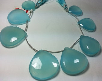 High Quality Seafoam Aqua Blue Seafoam Green Chalcedony Faceted Heart Briolette Bead Strand 19mm - 31mm