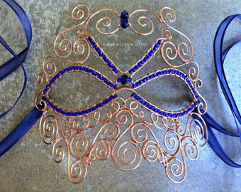 Cobalt & Copper Masquerade Mask