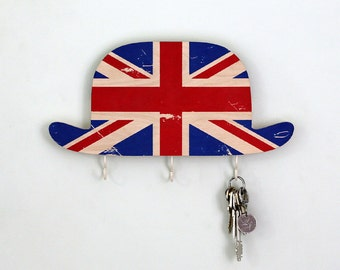 Key rack holder - Wooden Wall Organizer - Wood Shelf - Bowler Hat Great Britain-  for your keys, bills and letters