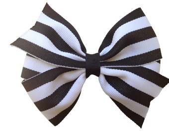 Black & white striped hair bow - black striped bow