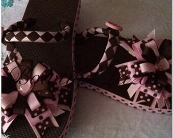 Brown and Pink polkadots flip flops
