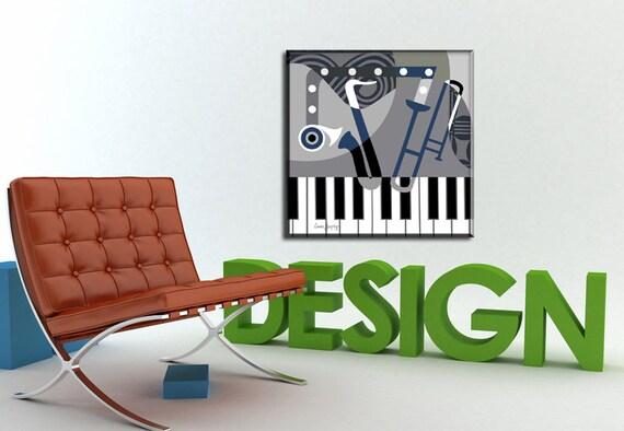 "Music Art Print on Wood Block, Music Wall Decor,  Black and White Art, Office Art, Monochrome Art - 16"" X 16"" X 1.5"""