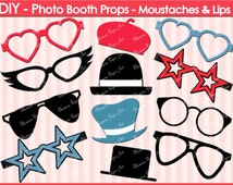 Printable Photo Booth Props - DIY - Glasses - Hats - Printables - Weddings - Parties - DIY Photo Booth Props - 300dpi - 1603